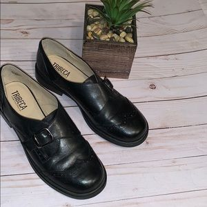 Tribeca Kenneth Cole Black Leather Oxfords Size 8